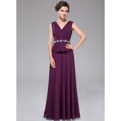 A-Line/Princess V-neck Sweep Train Chiffon Mother of the Bride Dress With Beading Sequins
