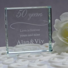 Personalized Square Crystal Cake Topper