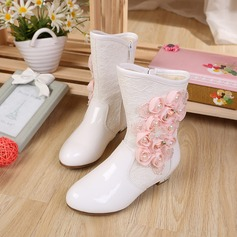 Girl's Leatherette High Heel Closed Toe Boots With Flower