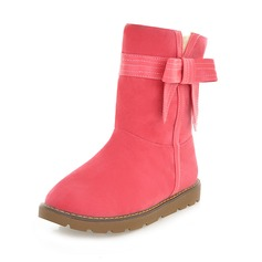 Suede Flat Heel Flats Closed Toe Mid-Calf Boots Snow Boots With Bowknot shoes