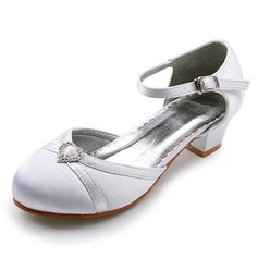 Women's Satin Low Heel Closed Toe Flats With Buckle Rhinestone