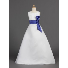 A-Line/Princess Floor-length Flower Girl Dress - Organza/Satin Sleeveless Scoop Neck With Sash