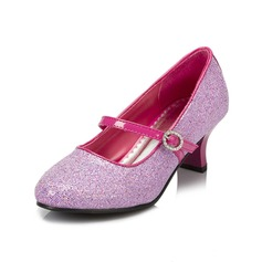 Girl's Sparkling Glitter Chunky Heel Closed Toe Pumps With Buckle
