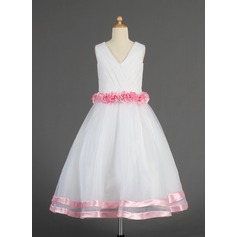 A-Line/Princess Tea-length Flower Girl Dress - Organza/Satin Sleeveless V-neck With Flower(s)