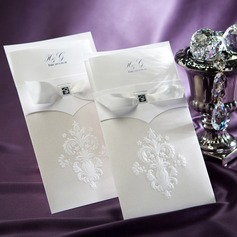 Personalized Elegant Embossed Paper Invitation Cards With Bow (Set of 50)
