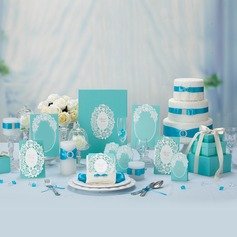 Floral Style Favor & Reception Sets(Including 1*Guest Book, 50*Favor Holders, 50*Invitation Cards and 10*Place Cards)