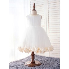 Ball Gown Knee-length Flower Girl Dress - Organza Sleeveless Scoop Neck With Beading/Flower(s)/Bow(s)