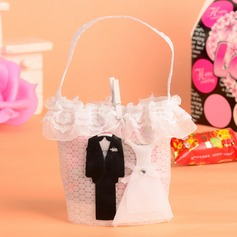 Bride & Groom Basket Favor Bags With Laces