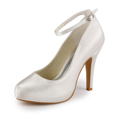 Kvinnor Satin Cone Heel Stängt Toe Plattform Pumps med Buckle