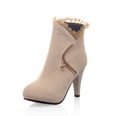 Suede Cone Heel Ankle Boots With Ruched shoes