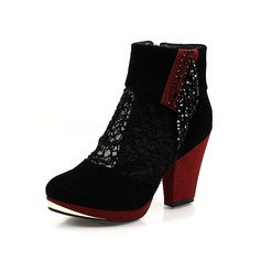 Real Leather Chunky Heel Ankle Boots With Rhinestone Stitching Lace shoes