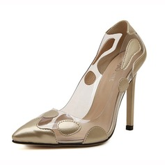 Leatherette Stiletto Heel Pumps Closed Toe With Split Joint shoes