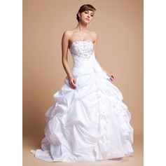 Ball-Gown Strapless Floor-Length Taffeta Tulle Wedding Dress With Embroidered Ruffle Beading Sequins