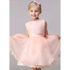 A-Line/Princess Short/Mini Flower Girl Dress - Tulle/Lace Sleeveless Jewel With Bow(s)