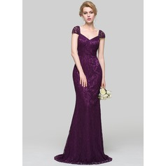 Trumpet/Mermaid V-neck Sweep Train Charmeuse Evening Dress