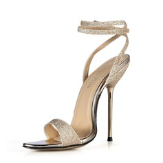 Sparkling Glitter Stiletto Heel Sandals Slingbacks With Buckle shoes