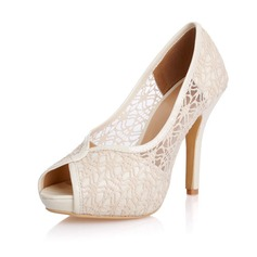 Lace Stiletto Heel Sandals Pumps Peep Toe shoes