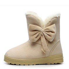Women's Suede Flat Heel Ankle Boots Snow Boots With Bowknot shoes