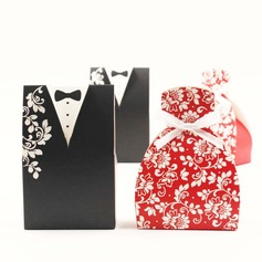 Tuxedo & Gown Favor Boxes With Bow (Set of 6 Pairs)