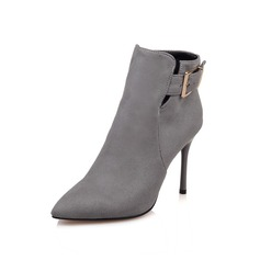 Women's Suede Stiletto Heel Ankle Boots With Buckle Zipper shoes (088097365)