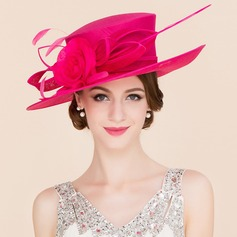 Ladies' Elegant Cambric With Silk Flower Bowler/Cloche Hat