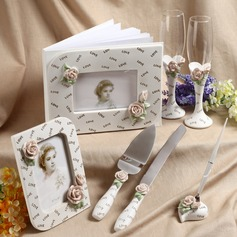 Spring Floral Designed Collection Set in Delicate Resin With Roses