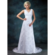 Empire V-neck Court Train Lace Wedding Dress With Ruffle Beading Appliques Lace