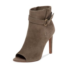 Women's Suede Stiletto Heel Boots Peep Toe Ankle Boots With Buckle shoes