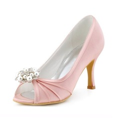 Women's Satin Stiletto Heel Peep Toe Sandals With Imitation Pearl