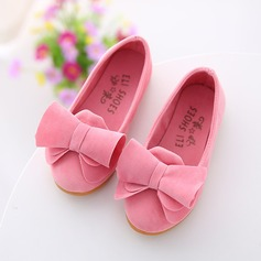 Girl's Suede Flat Heel Round Toe Closed Toe Flats With Bowknot