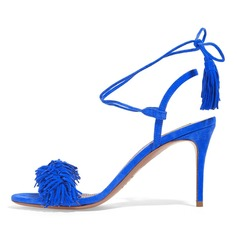 Women's Suede Stiletto Heel Sandals Slingbacks With Tassel shoes