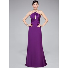 Trumpet/Mermaid V-neck Sweep Train Satin Chiffon Evening Dress With Ruffle Beading