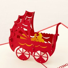 Three-dimensional Baby Carriage Greeting Cards