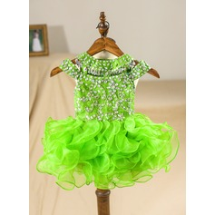 A-Line/Princess Knee-length Flower Girl Dress - Organza Sleeveless Scoop Neck With Beading/Back Hole