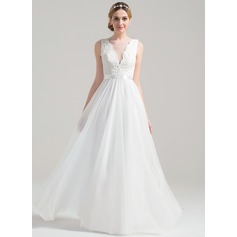 A-Line/Princess Scoop Neck Floor-Length Tulle Lace Wedding Dress With Bow(s)