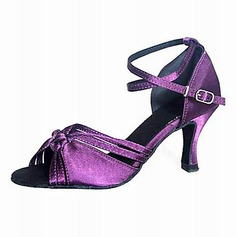 Satin Heels Sandals Latin Ballroom Dance Shoes