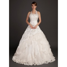 Ball-Gown Halter Chapel Train Taffeta Wedding Dress With Lace Beading