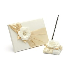 Elegant Resin Faux Pearl Guestbook/Pen Set