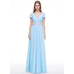 A-Line/Princess V-neck Floor-Length Chiffon Evening Dress With Beading Appliques Lace Sequins Cascading Ruffles