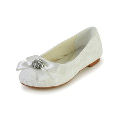 Girl's Lace Satin Flat Heel Closed Toe Flats With Bowknot Rhinestone (207095476)