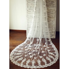 One-tier Cathedral Bridal Veils With Lace Applique Edge (006089547)
