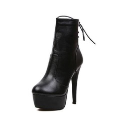 Leatherette Stiletto Heel Platform Ankle Boots shoes