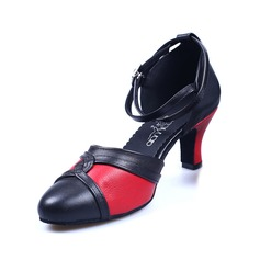 Women's Real Leather Pumps Latin Ballroom With Buckle Dance Shoes