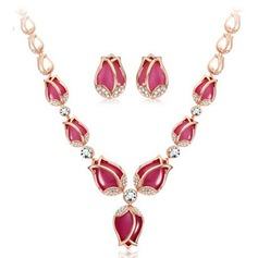 Flower Shaped Alloy/Rhinestones With Cat's Eye Ladies' Jewelry Sets