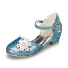 Kids' Leatherette Low Heel Closed Toe Pumps With Flower