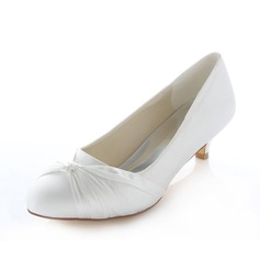 Women's Satin Kitten Heel Closed Toe Pumps (047085042)