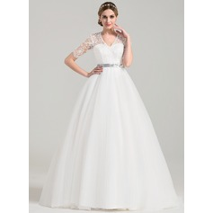 Ball-Gown V-neck Court Train Tulle Wedding Dress With Sash Beading Bow(s)