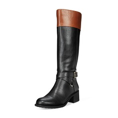 Women's Leatherette Low Heel Boots Mid-Calf Boots With Buckle shoes