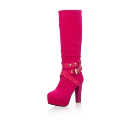 Leatherette Chunky Heel Platform Knee High Boots With Buckle shoes