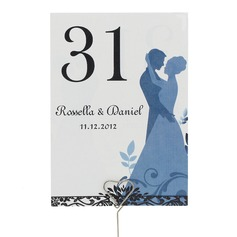Personalized Bride And Groom Pearl Paper Table Number Cards